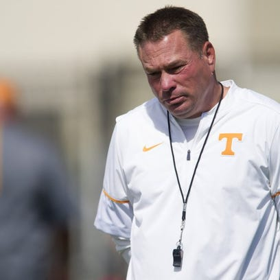 Tennessee head coach Butch Jones at practice on Monday, Aug. 22, 2016. (SAUL YOUNG/NEWS SENTINEL)
