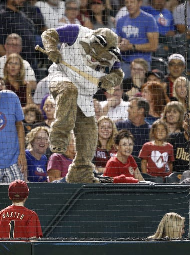 Diamondbacks' mascot Baxter playfully attempts to break a bat that was thrown into the crowd at Chase Field in Phoenix, Ariz. on Thursday, April 7, 2016.