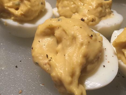 Plain deviled eggs are an easy make-ahead appetizer,