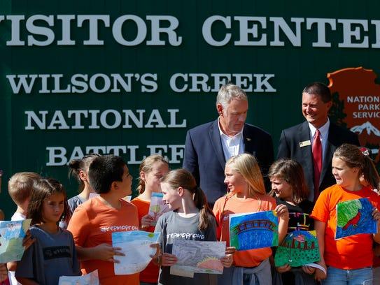 U.S. Interior Secretary Ryan Zinke meets with school