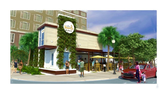 Quint and Rishy Studer are planning a drive-through and pedestrian coffee shop built with shipping containers at the corner of Baylen and Main Streets in downtown Pensacola.