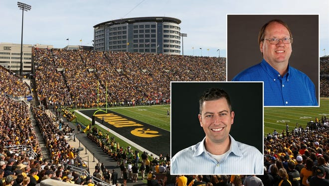 Hawkeyes columnist Chad Leistikow (bottom) and Hawkeyes reporter Mark Emmert will be answering your football questions on Facebook Live, Wednesday at noon.