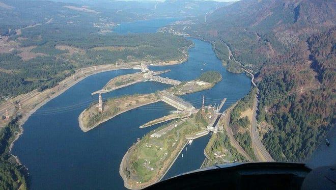 Aerial view of Cascade Locks.