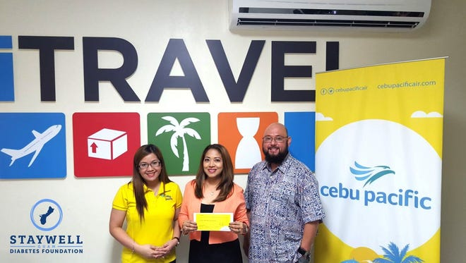 The StayWell Guam Diabetes Foundation would like to express their appreciation and gratitude to Cebu Pacific Airlines for providing sponsorship during their Inaugural Gala. Three roundtrip tickets to Manila for two were donated by Cebu Pacific as raffle prizes for this event. The Foundation would also like to congratulate the winners, Jean Grape and Scott Kiah. The prizes were awarded on May 10, 2018 at the iTravel Office- the wholesaler for Cebu Pacific in Guam.  Pictured from left Haifa Miclat iTravel Agent, Jean Grape Sales Manager at JMI Edison, and Dr. Anthony Mendiola, Foundation Director.
