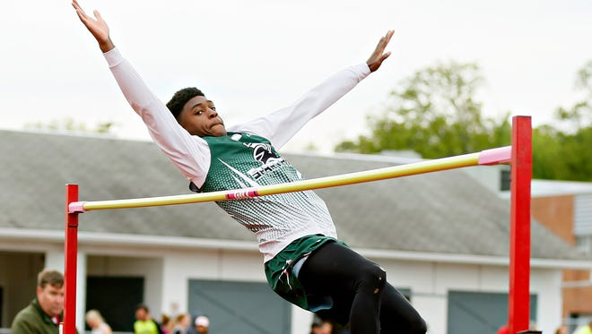 York Tech's DJ Hamilton works to clear 6 feet in the high jump during York-Adams League Division III title track action against Bermudian Springs at Bermudian Springs High School in York Springs,  Thursday, May 4, 2017. Hamilton won the high jump event, but York Tech lost the meet to the Eagles, 97-53, costing it the Division III title. Dawn J. Sagert photo