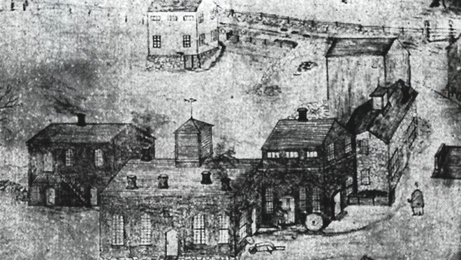 This vintage sketch depicts the 18th- and 19th-century Harris Manufactory complex along Route 199 in Hammertown, Pine Plains. Today, only the house remains, albeit 1/4 mile from its original location.