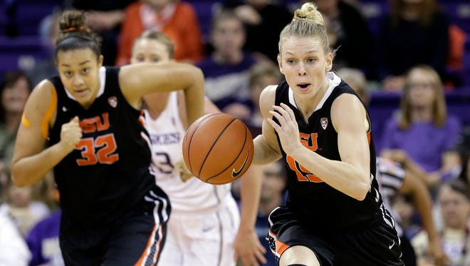Oregon State's Jamie Weisner, right, is trailed by teammate Deven Hunter (32) and Washington's Katie Collier during the first half of an NCAA college basketball game Friday, Feb. 5, 2016, in Seattle.