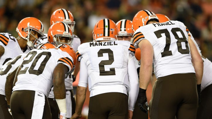 CLEVELAND, OH - AUGUST 28:  Cleveland Browns huddle during the second quarter against the Chicago Bears at FirstEnergy Stadium on August 28, 2014 in Cleveland.