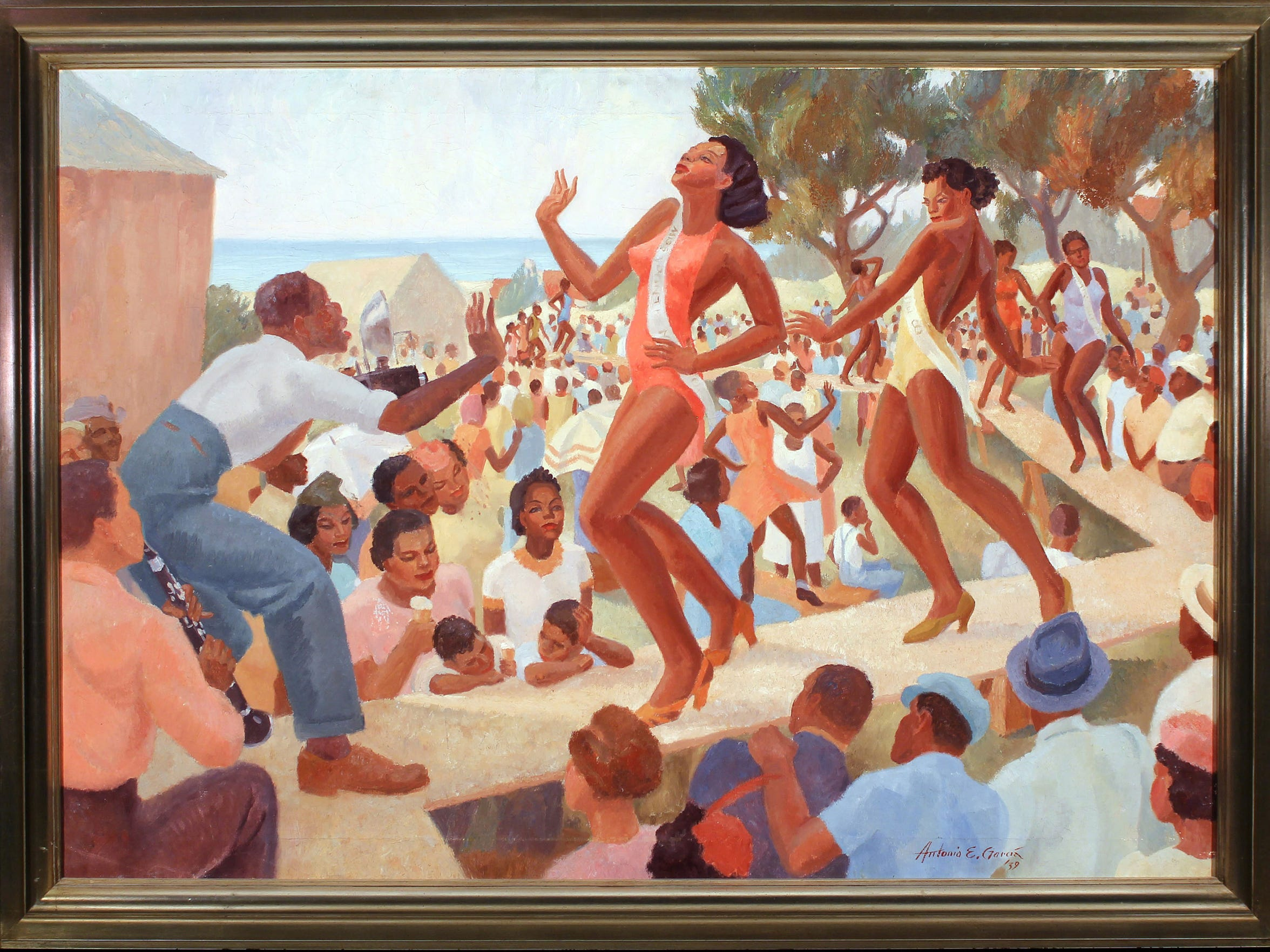 "Antonio E. Garcia's ""Juneteenth Revue,"" 1939, oil on canvas, Gift of the Corpus Christi Art Guild to the Art Museum of South Texas Permanent Collection, x.4."