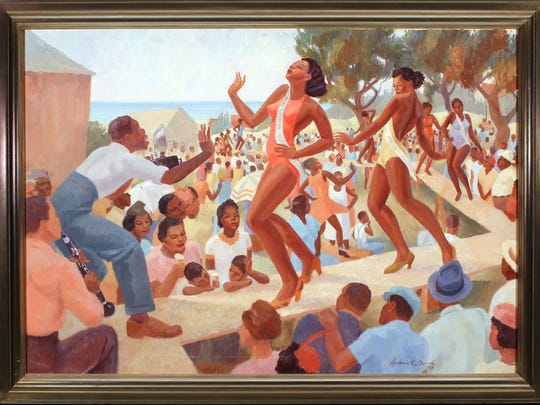 """Antonio E. Garcia's """"Juneteenth Revue,"""" 1939, oil on canvas, Gift of the Corpus Christi Art Guild to the Art Museum of South Texas Permanent Collection, x.4."""