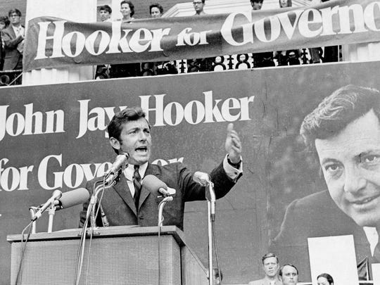 John Jay Hooker addresses a large crowd gathered June 27, 1970, on the Rutherford County Courthouse square as he officially opened his campaign for the governor of Tennessee.