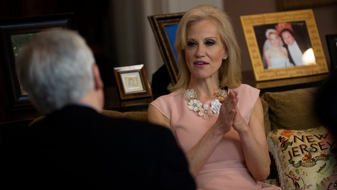 Kellyanne Conway is interviewed by Record columnist Mike Kelly at her Alpine home on Sunday.