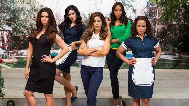 "Lifetime Television shows, from left, Roselyn Sanchez, Edy Ganem, Ana Ortiz, Dania Ramirez and Judy Reyes who star in the new Lifetime series ""Devious Maids."" The series, about the lives of domestic workers and their wealthy bosses, was created by Marc Cherry, who also created the popular series, ""Desperate Housewives."" (AP Photo/Lifetime Television, Jim Fiscus, File)"