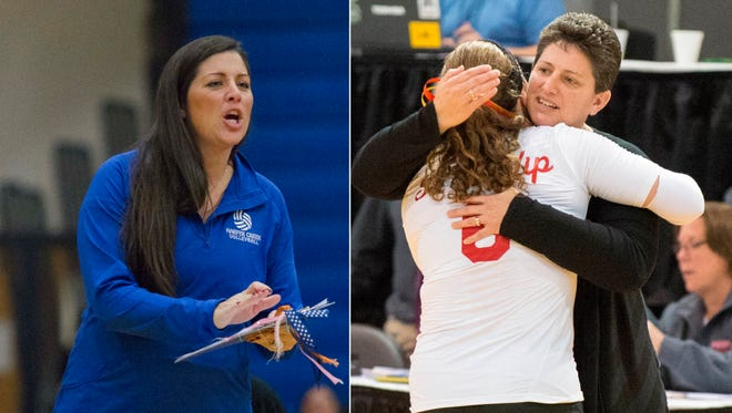 Harper Creek's Terra King (L) and St. Philip's Vicky Groat have been named the 2015 All-City Volleyball co-Coaches of the Year.
