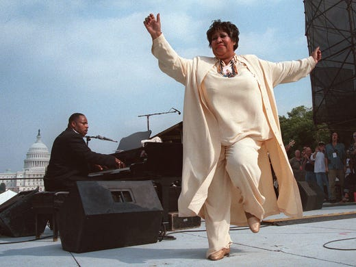 Aretha Franklin dances on stage during the first annual