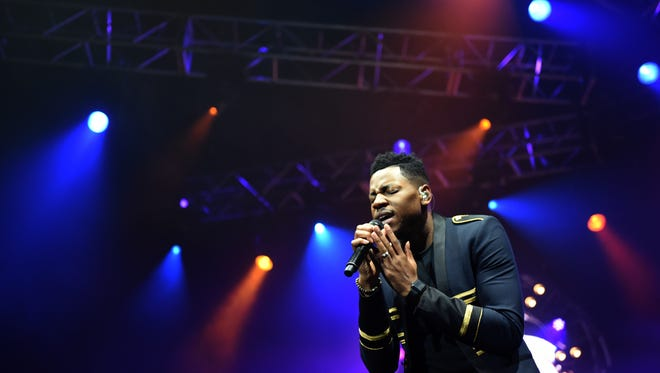 "Knoxville's Chris Blue, who won ""The Voice"" in season 12, performs in the Tennessee Theatre to a sold-out crowd Sept. 7, 2017."