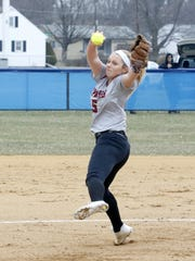 Bella Reese delivers a pitch for Elmira in a 7-4 loss to Horseheads on April 11 in Horseheads.