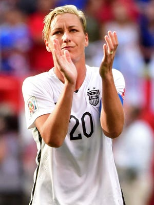 United States forward Abby Wambach acknowledges the crowd after their win over Nigeria in a Group D soccer match in the 2015 FIFA women's World Cup at BC Place Stadium.