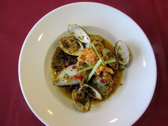 Oyster and Fennel Stuffed Squid with Little Neck Clam