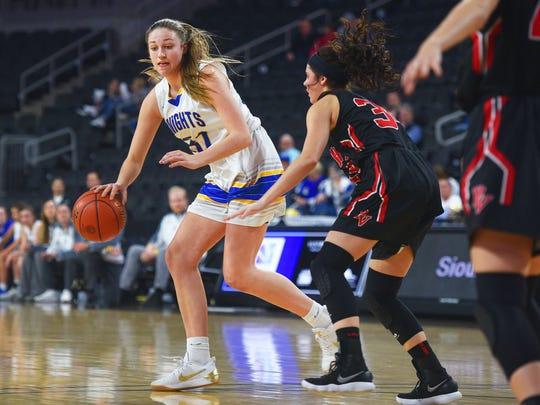 O'Gorman''s Emma Ronsiek goes against Brandon Valley