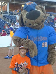 Rocky the Hound (right) of the Midland RockHounds sent