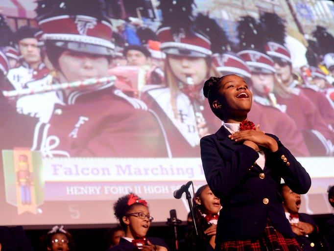 Amani Foreman, 12,  right, of the Detroit Academy of