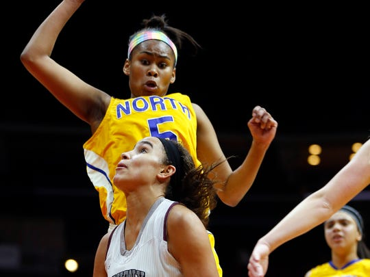 Davenport North's Jinaya Houston (top) signed her National