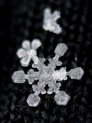 A snowflake rests in the fibers of a black glove after a fresh snowfall in Knoxville on Tuesday, Jan. 28, 2014.