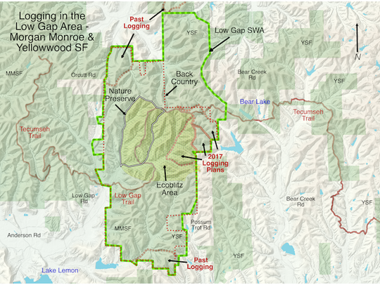 This map shows the areas of the Yellowwood backcountry