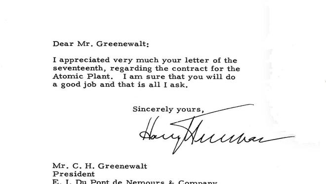 A 1950 letter from President Harry S. Truman to the head of DuPont greenlighted the Savannah River Site, which 70 years later remains one of metro Augusta's largest economic engines.
