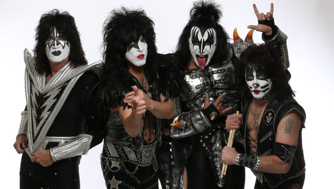 Members of the rock band KISS:  from left, Paul Stanley, Gene Simmons , Eric Singer and Tommy Thayer pose in full makeup and costume before playing at the House of Blues in West Hollywood, CA. Photographed at the Mondrian Hotel in West Hollywood in February.