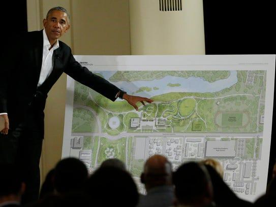 Former president Barack Obama speaks at a community