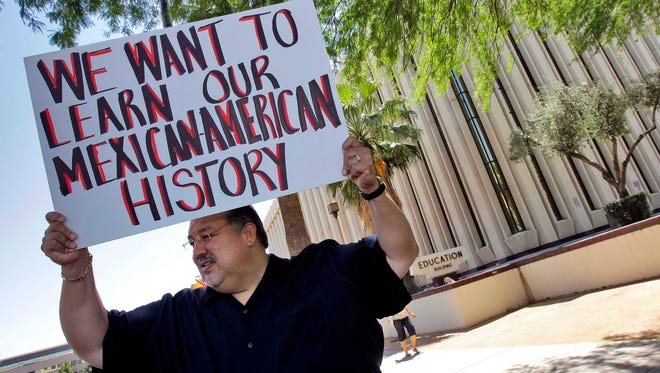 In May 2011, Carlos Galindo protested outside the Arizona Department of Education with other supporters of an ethnic studies program in the Tucson Unified School District.