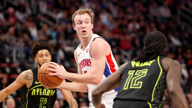 Pistons guard Luke Kennard looks for space against the Hawks on Feb. 14.