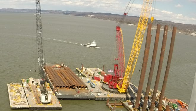 Pile driving continues near the center span for the Tappan Zee Bridge replacement project.