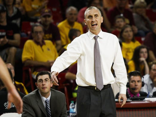 ASU's head coach Bobby Hurley yells to his team as