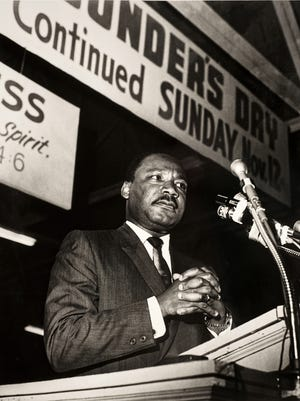 """Ernest Withers took this photograph of Dr. Martin Luther King, Jr. delivering his famous and final speech, the """"Mountaintop"""" speech, at Mason Temple on April 3, 1968."""