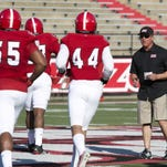 Coach Mark Hudspeth during the Ragin Cajuns football spring game at Cajun Field on Saturday afternoon 3/28/15. John Rowland/Special to the Advertiser