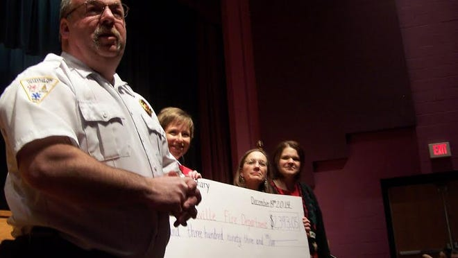 Pittsville kindergarten teachers Susy Niehaus, Jackie Heinzen and Jen Petersen recently presented a check for $2,393.05 to Pittsville Fire Chief Jerry Minor. The Pittsville kindergarten classes sponsored a Walk-a-thon as a random act of kindness event to raise money for the Pittsville Fire Department. The 4K through third-grade students and families raised the funds. Through this event the children learned how to give back to their community.