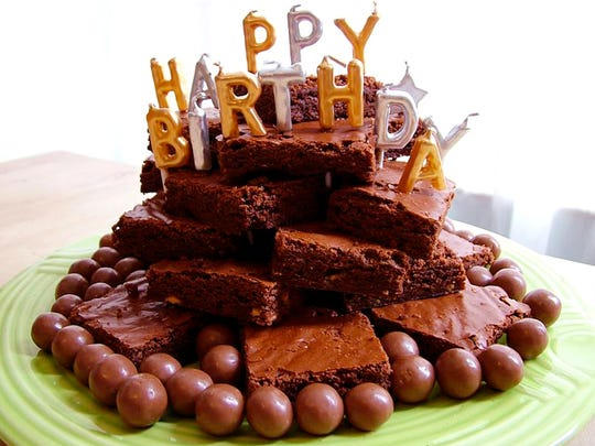 Stacked brownies make a tasty birthday cake alternative.