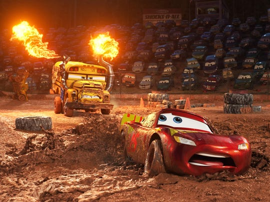 Lightning McQueen finds himself in the middle of a smash-and-crash, figure-8 race, facing off against local legend Miss Fritter, a school bus (Lea DeLaria) who doesn't like to lose.