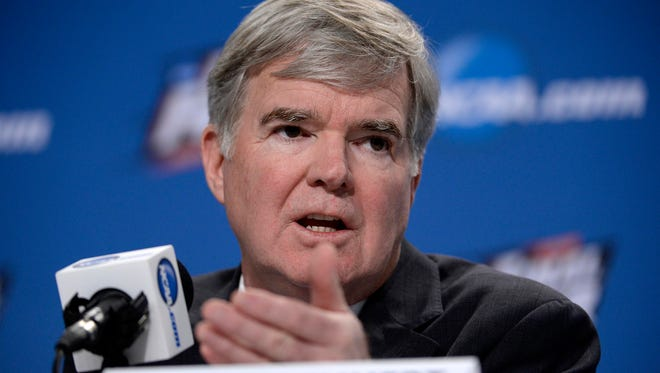 Apr 2, 2015; Indianapolis, IN, USA; NCAA president Mark Emmert speaks to the media during a press conference at Lucas Oil Stadium. Mandatory Credit: Robert Deutsch-USA TODAY Sports