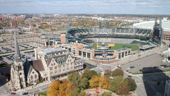 The view of Comerica Park and from the David Whitney building in 2014.