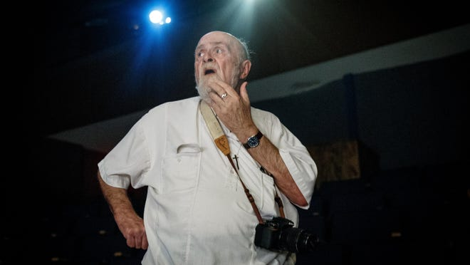"""Ken Bradbury watches rehearsals for the play he wrote and directs, """"The Boy from Fishhook: The Story of Robert Earl Hughes"""" in the Sibert Theatre on the campus of Illinois College in July 2017."""