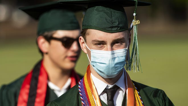 Texas high school graduates wearing masks at their graduation ceremonies last Friday.