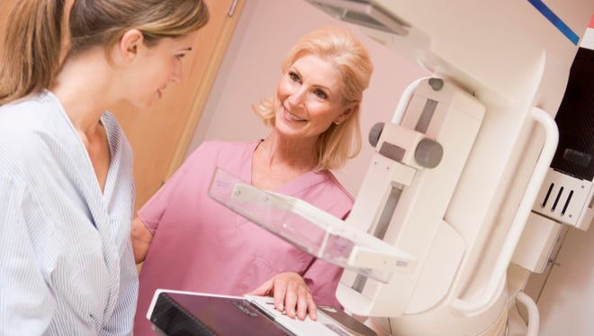 Breast density compares the area of breast and connective tissue seen on a mammogram with the area of fat. Dense breasts have less fatty tissue and more non-fatty tissue compared with breasts that are not dense. Breast and connective tissue are denser than fat, and a radiologist can detect this thickness of the breast tissue by examining a mammogram.