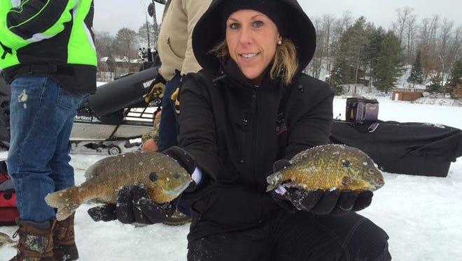 Heather Schulta with some big centrral Wisconsin bluegills