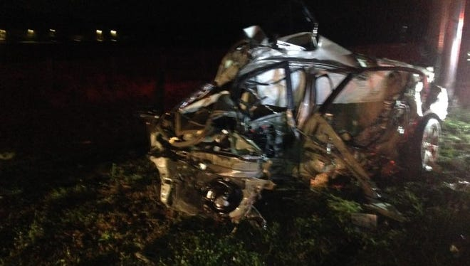 One person was killed a crash early Sunday, just off I-95 in Palm Bay.