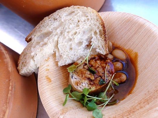 Pheasant and foie gras sausage with juniper berries,