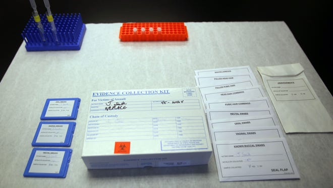 Example of a sexual assault kit in a lab at the Michigan State Police Northville Post.